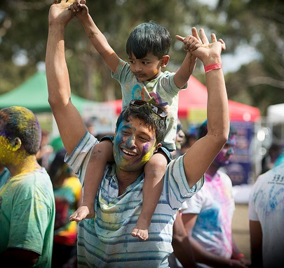 dad and son holi cropped